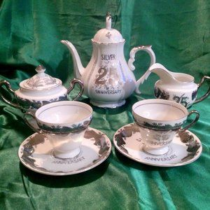 Vintage NORCREST China 25TH Anniversary Tea Set